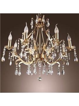 Elegant Golden Crystal 8 Lights Chandelier