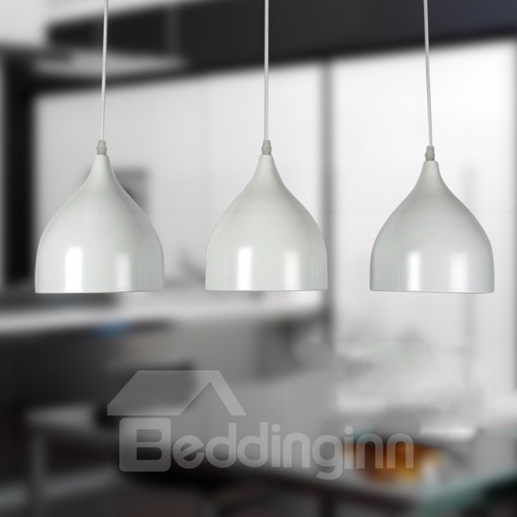Amazing Contemporary White Shade 3 Light Pendant