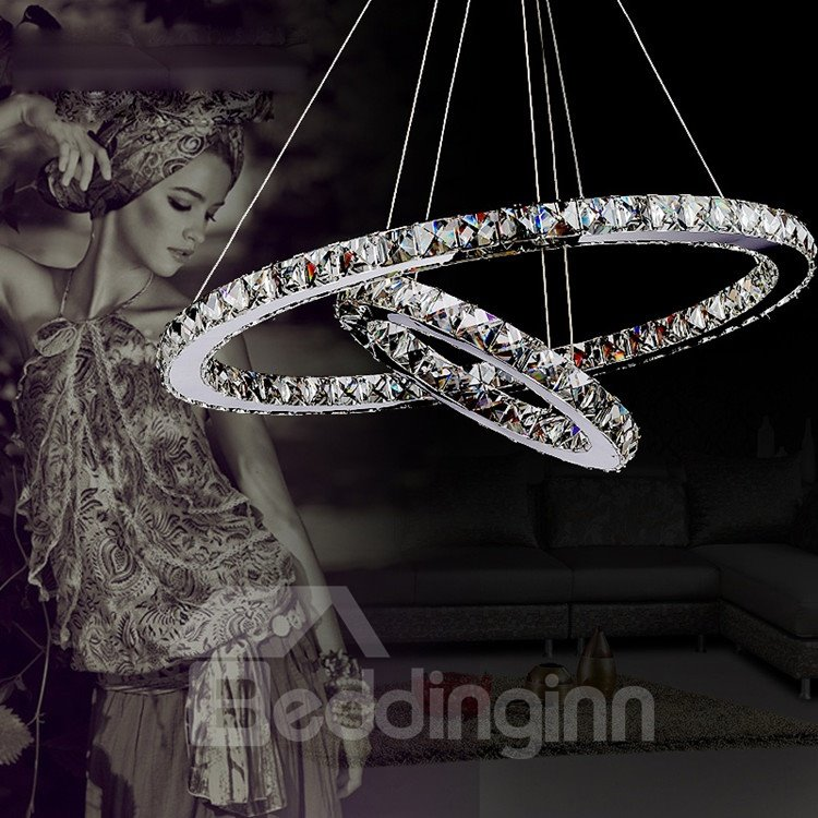 Luxury Unique Two Rings Modern Crystal LED Pendant