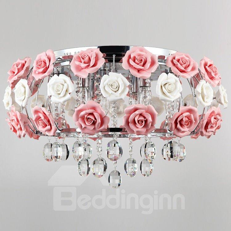 Idyllic Modern Pink Flower Crystal 5 Lights Flush Mount