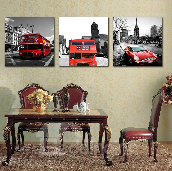 New Arrival Red Bus And Cars Driving On The Streets Film Wall Art Prints