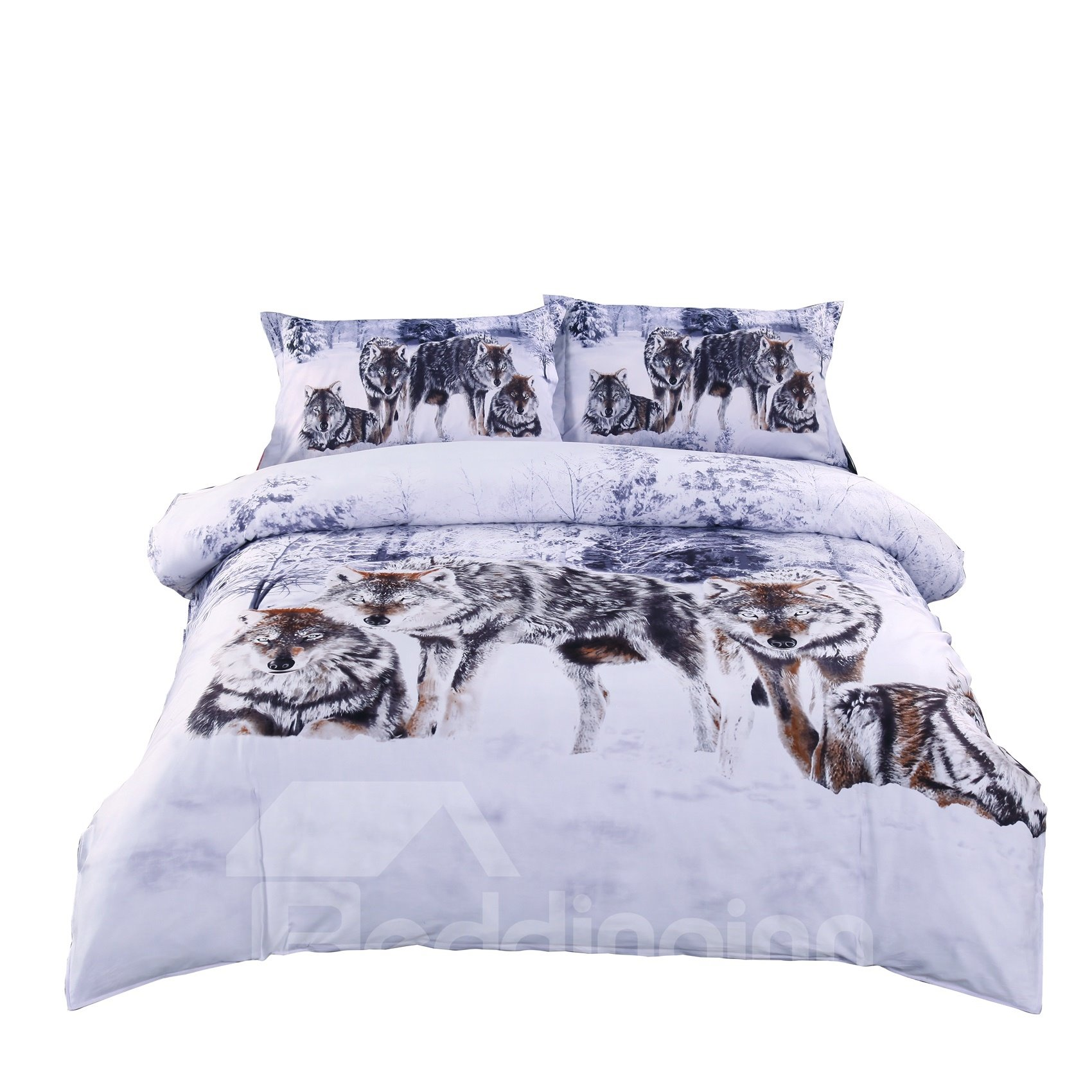 Snow Wolf In The Woods Print 3d Duvet Cover Sets