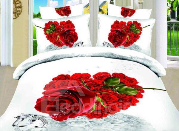Red Heart Shaped Rose Print 3D Duvet Cover Sets
