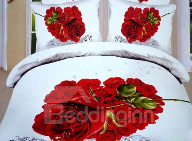 Red Heart Shaped Rose Print 3D Duvet Cover Sets 10921293