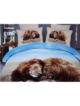 Lion Couple Lying on the Grass 3D Duvet Cover Sets