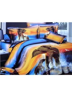 Mother and Baby Elephant in Water 3D Duvet Cover Sets