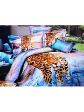 Golden Tiger Stepping into Water Print 3D Duvet Cover Sets