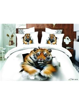 Big Tiger Break into the Wall Print 3D Duvet Cover Sets