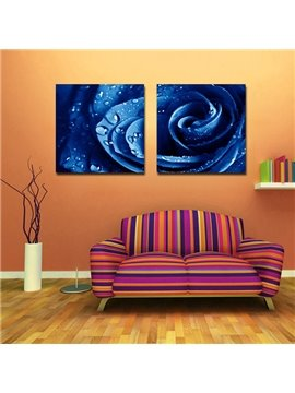 New Arrival Dew On Blue Rose Film Art Wall Prints