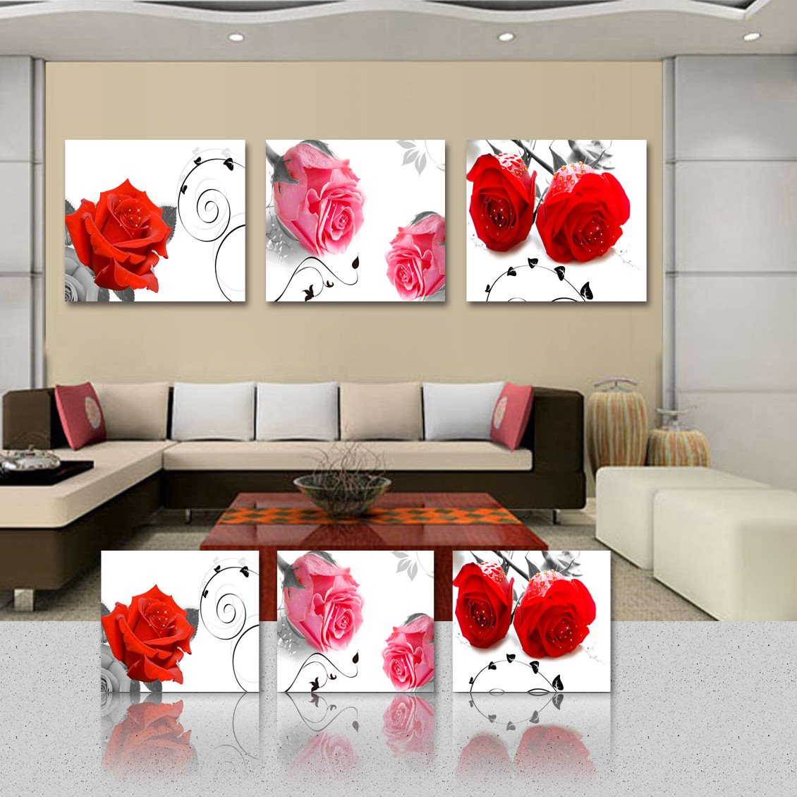 New Arrival Pink And Red Roses Film Art Wall Prints