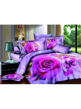 Luxury Big Purple Rose Print 3D Duvet Cover Sets