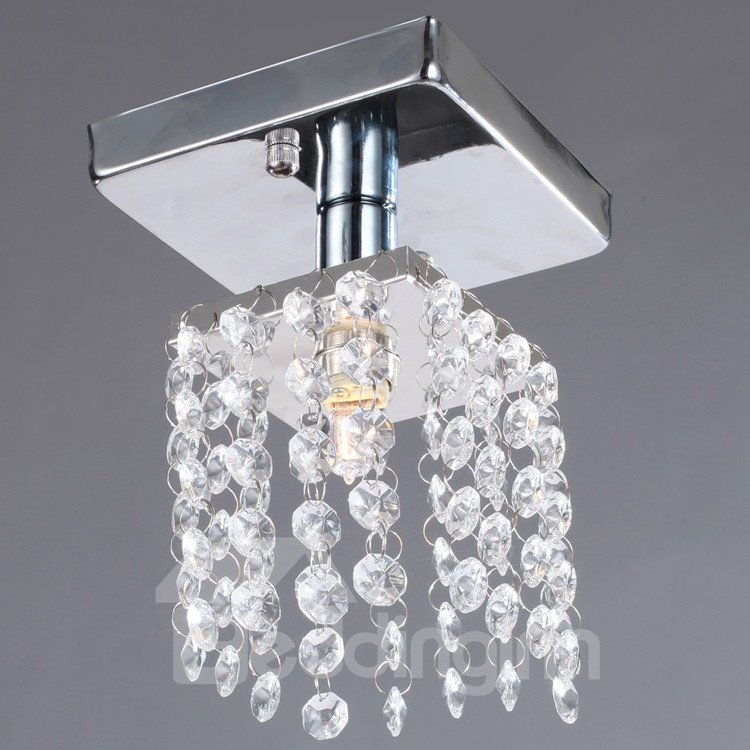 Led Light Fixture Flashing On And Off: Comtemporary Decorative Metal Crystal 1 Light Flush Mount