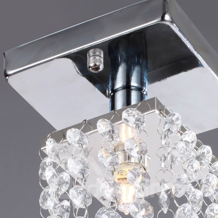 Comtemporary Decorative Metal Crystal 1 Light Flush Mount