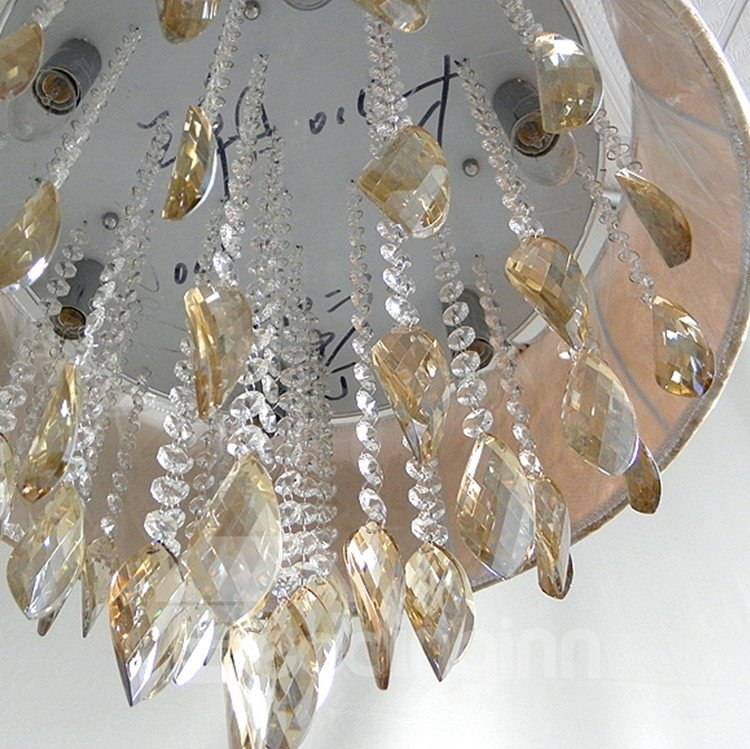 Enjoyable Round Metal Crystal Flush Mount