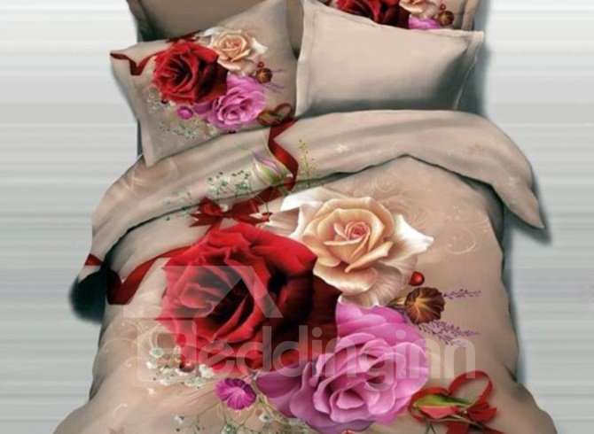 Three Color Roses and Red Ribbon Print 3D Duvet Cover Sets