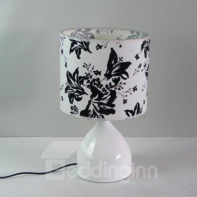 Stunning BLack Floral Fabric Shade 1 Light Lamp