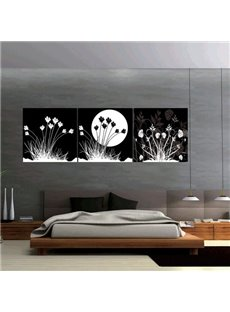 Black Decorative with White Flowers and Sun Canvas Wall Art Prints