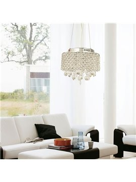 Charming Chrome Metal K9 Crystal Round Pendant Light