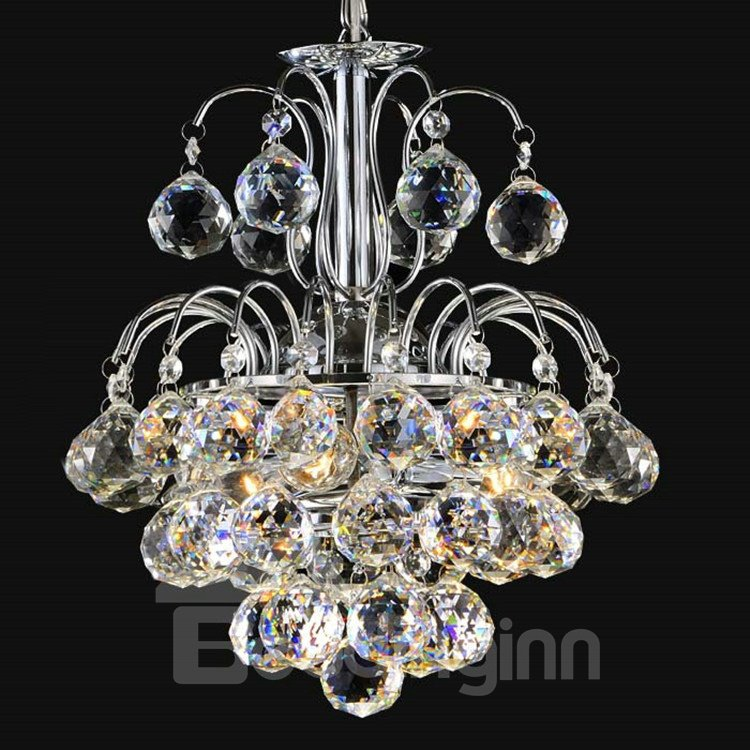 Stunning Metal K9 Crystal Chrome Pendant Light