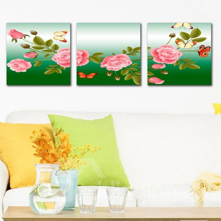 New Arrival Butterflies Flying On The Branch And Pink Flowers Canvas Wall Prints