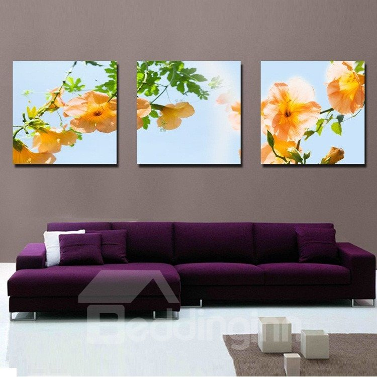 New Arrival Yellow Flowers Toward Sunshine Canvas Wall Prints