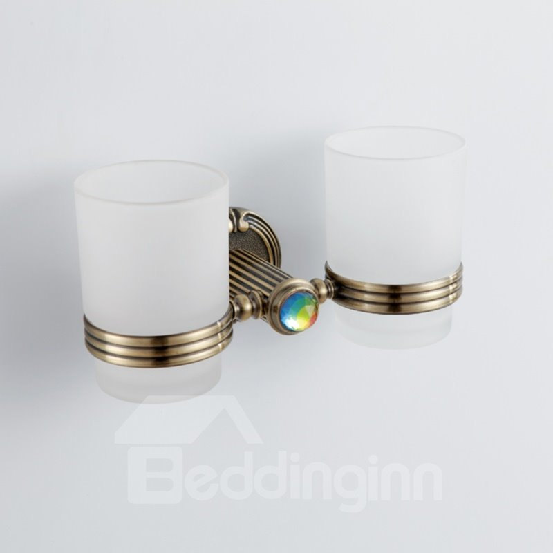 Colorful Crystal Decorated Bronze Finish Brass Double Cup Toothbrush Holder