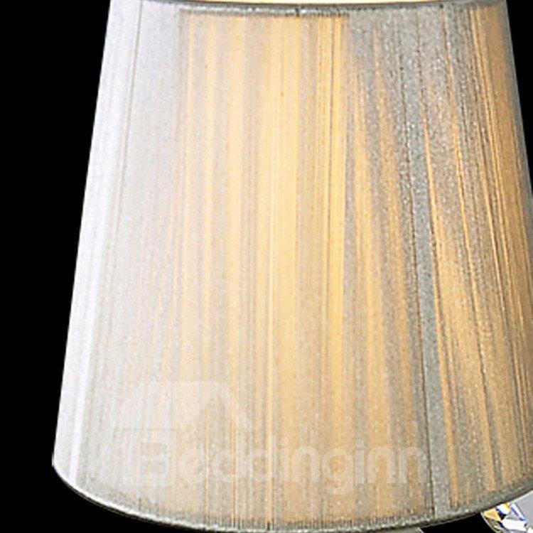 Charming Metal Crystal Fabric Shade 1 Light Wall Light
