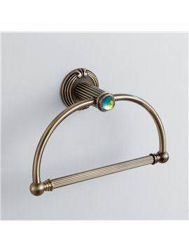 Classic Colorful Crystal Decorated Bronze Finish Brass Curved Ring Towel Ring