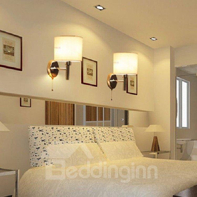 Stunning White Metal Fabric Shade 1 Light Bedroom Wall Light