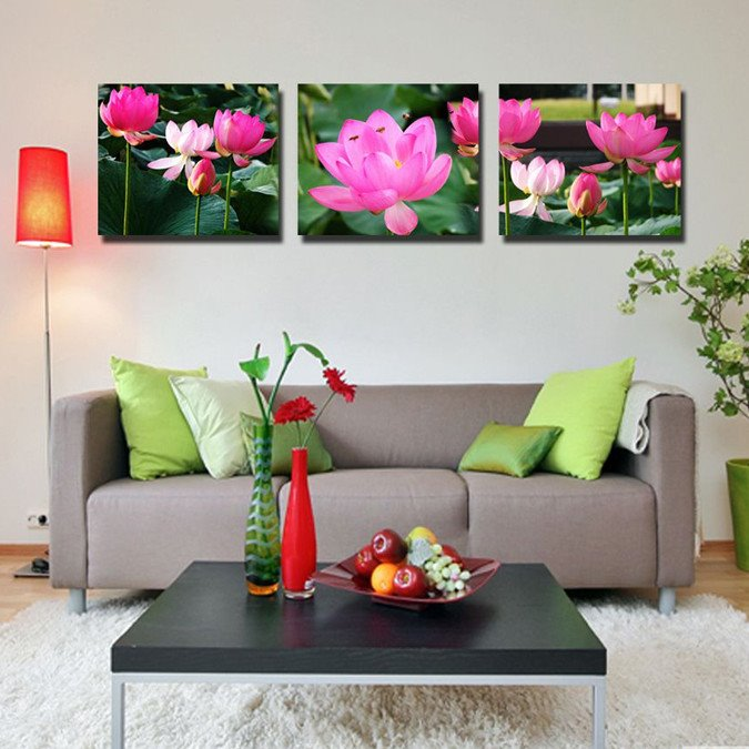 New Arrival Bees Flying Over Lotus Canvas Wall Prints