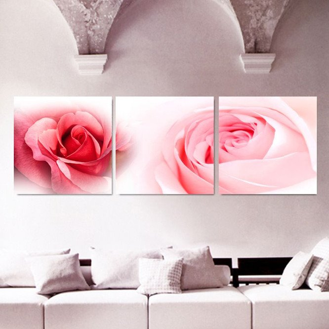 New Arrival Delicate Pink Roses Canvas Wall Prints