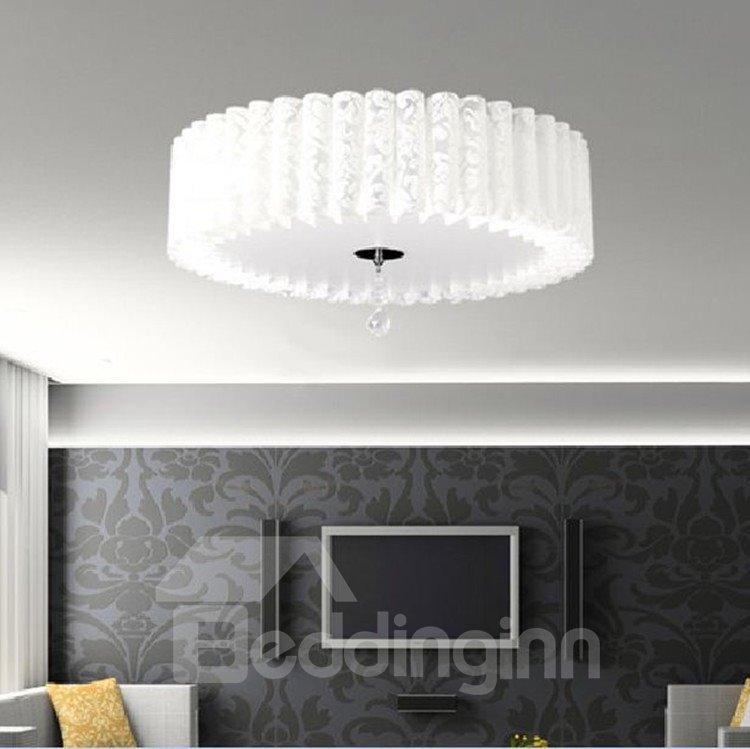 Fantastic Charming White Metal PVC Shade Flush Mount