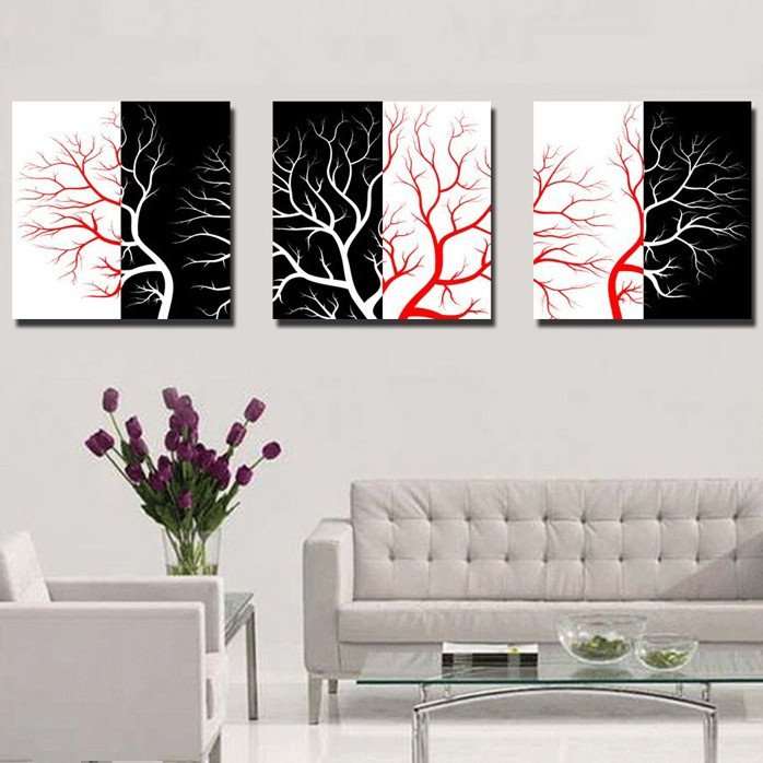 New Arrival Black And Red Tree Branches Canvas Wall Prints
