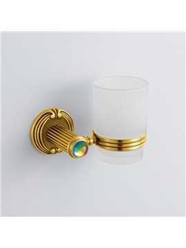 Colorful Crystal Decorated Ti-PAD Finish Brass Single Cup Toothbrush Holder Rack
