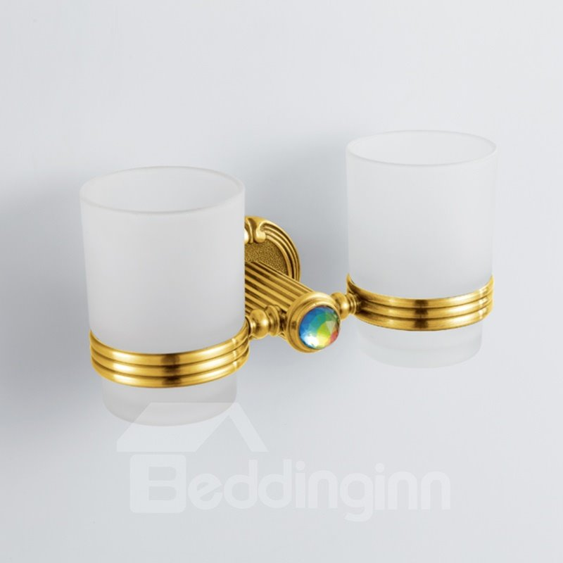 Antique Style Colorful Crystal Decorated Ti-PAD Finish Brass Double Cup Toothbrush Holder Rack 10923089