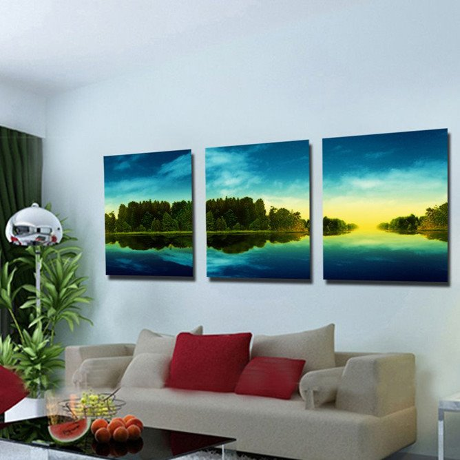 Delicate Trees With Lake Surrounded And White Cloud Scenery Canvas Wall Art Prints