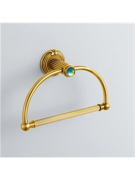 Colorful Crystal Decorated Ti-PVD Finish Brass Curved Ring Towel Ring