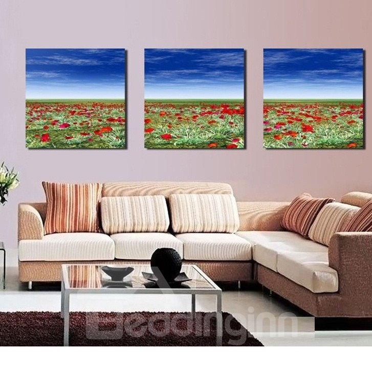 New Arrival Sea of Flowers Under Blue Sky Canvas Wall Prints
