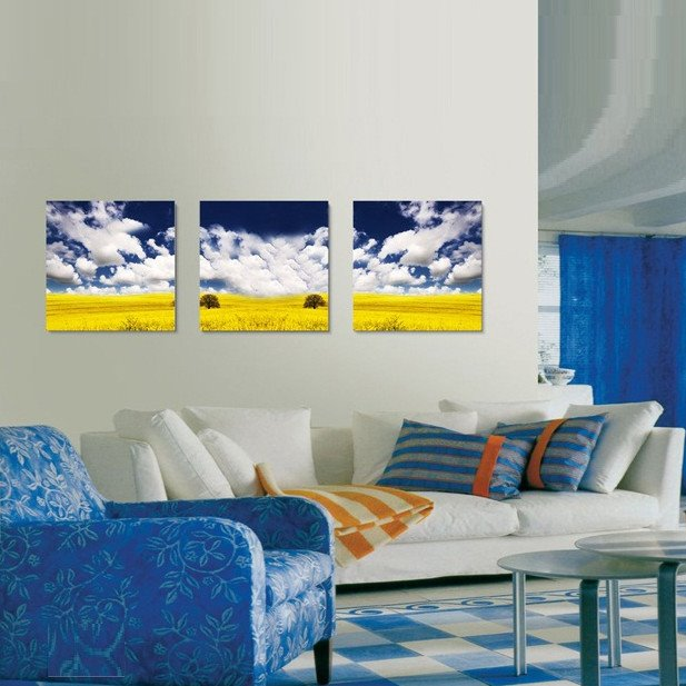 New Arrival Yellow Flowers Under Blue Sky And White Cloud Canvas Wall Prints 10923251