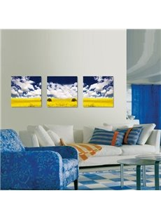 New Arrival Yellow Flowers Under Blue Sky And White Cloud Canvas Wall Prints