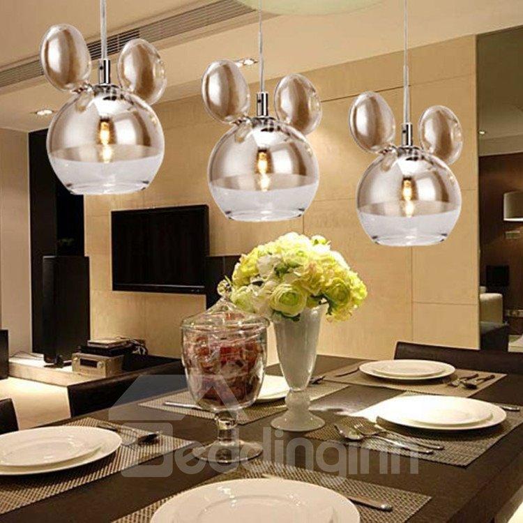 Amazing Chrome Metal Glass Shade 3 Lights Pendant