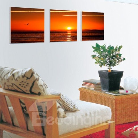 New Arrival Seagull Over The Sea And Sunrise Canvas Wall Prints