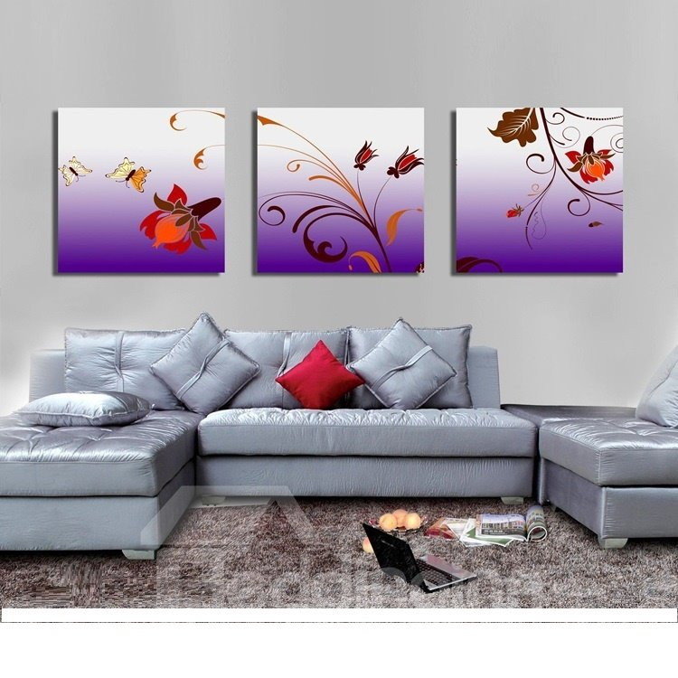 New Arrival Butterflies And Flowers Canvas Wall Prints