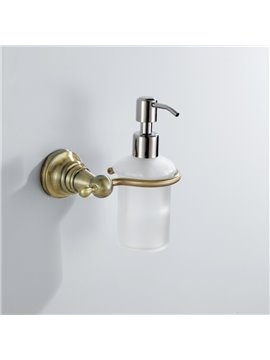 Simple Round Style Antique Golden Brass Soap Dispenser