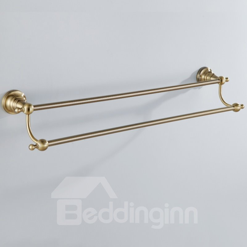 Simple Round Style Antique Golden Brass Double Towel Bar