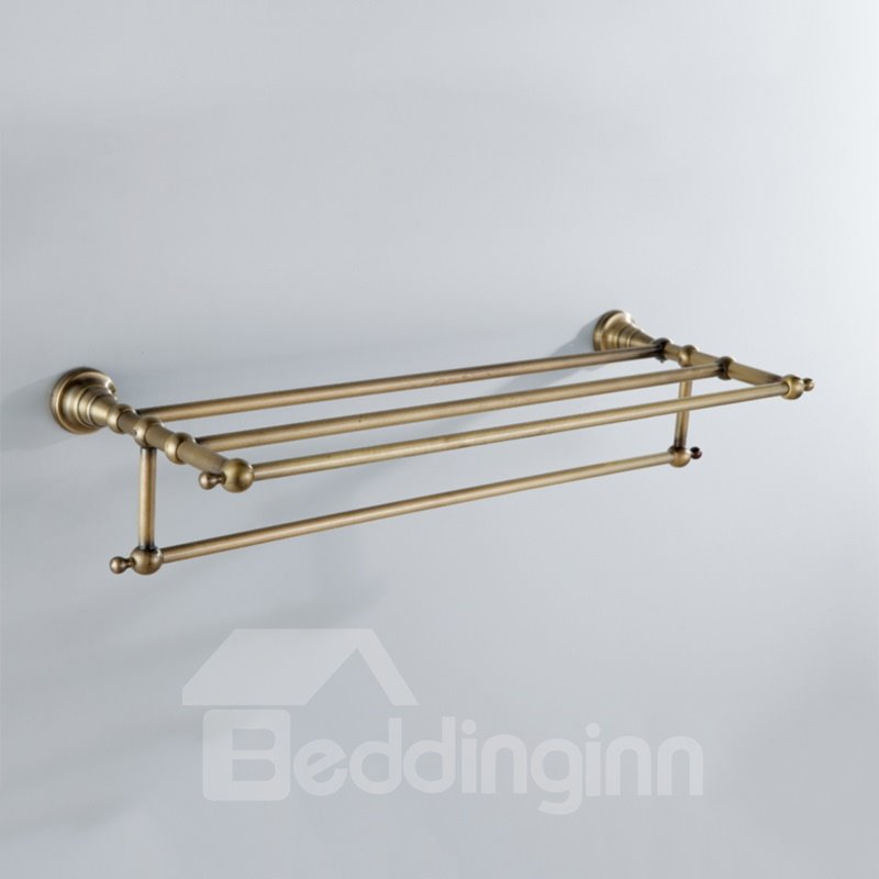 Antique Golden Brass Wall-mounted Bathroom Shelf With Towel Bar