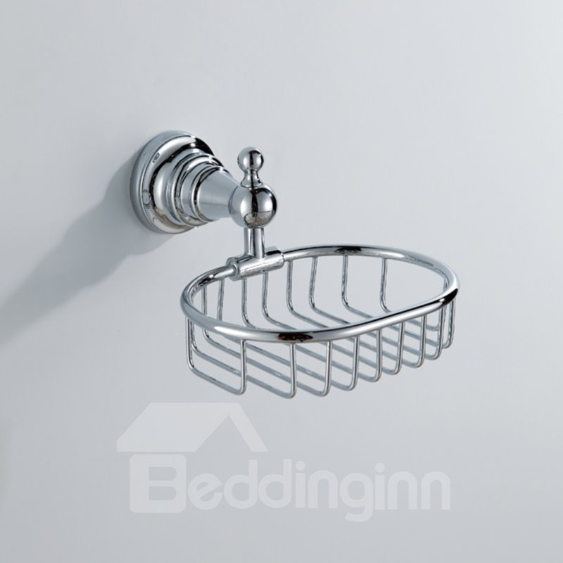 Chrome Finish Contemporary Style Brass Wall Mounted Retangle Soap Holders 10923969