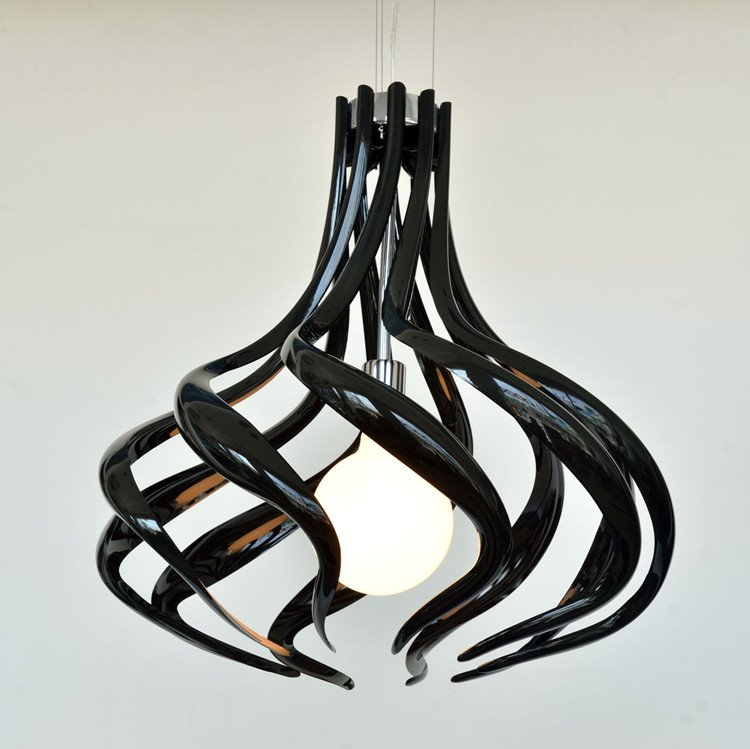 Amazing Black Metal Acrylic Shade 1 Light Pendant