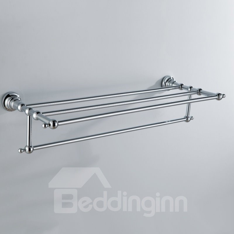 Chrome finish bathroom accessories brass towel rack for Bathroom accessories towel racks