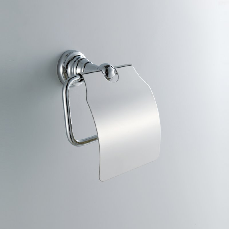 Contemporary Wall Mount Silver Chrome Finish Solid Brass Toilet Roll Holder